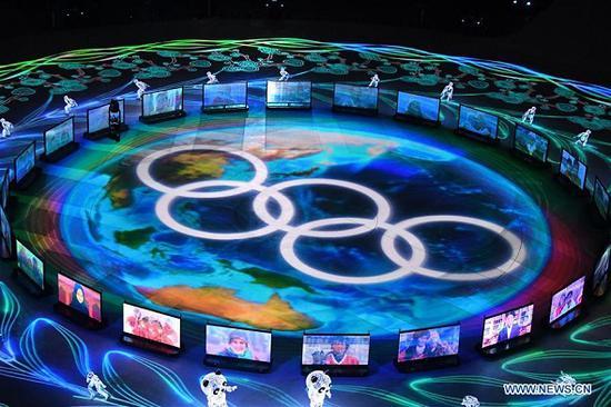 Photo shows the Beijing 2022 presentation during the closing ceremony for the 2018 PyeongChang Winter Olympic Games at PyeongChang Olympic Stadium, PyeongChang, South Korea, Feb. 25, 2018. (Photo: Xinhua/Lan Hongguang)