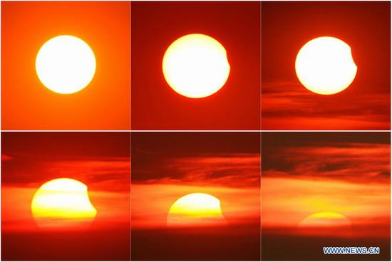 中国东部江苏省出现部分日食