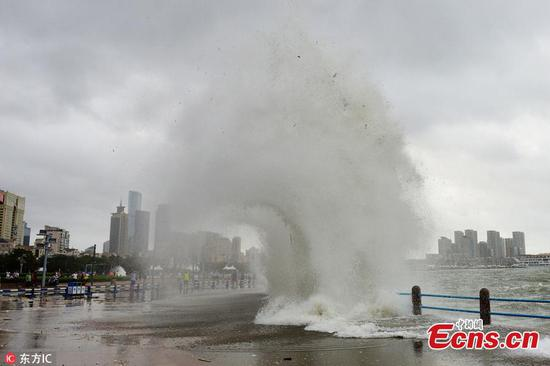 Typhoon Yagi brings high waves in Qingdao