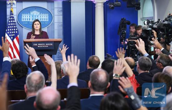 White House spokesperson Sarah Sanders attends a press briefing at the White House in Washington D.C., the United States, Aug. 14, 2018. (Xinhua/Liu Jie)