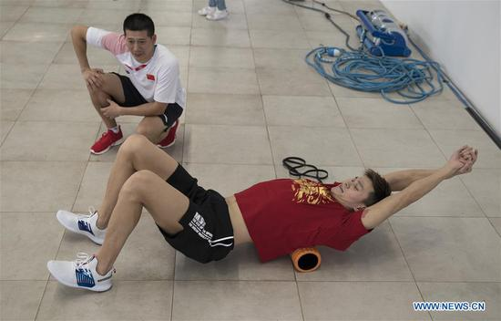 Sun Yang practices ahead of Asian Games in Jakarta, Indonesia