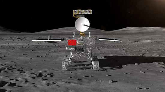 Photo provided by State Administration of Science, Technology and Industry for National Defense shows the image of the rover for China's Chang'e-4 lunar probe. China's moon lander and rover for the Chang'e-4 lunar probe, which is expected to land on the far side of the moon this year, was unveiled Wednesday. The global public will have a chance to name the rover. (Xinhua)