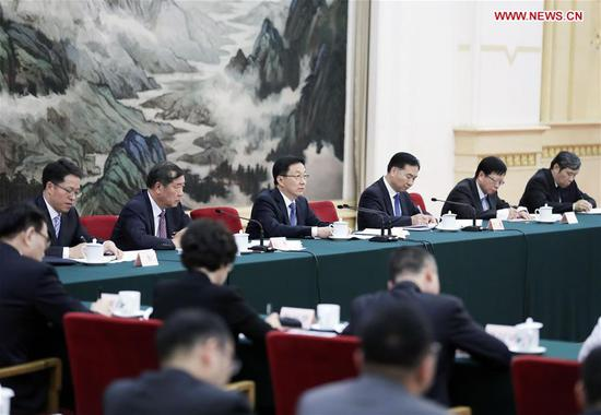 Chinese Vice Premier Han Zheng, a member of the Standing Committee of the Political Bureau of the Communist Party of China Central Committee and head of the leading group on construction of Guangdong-Hong Kong-Macao Greater Bay Area, presides over a meeting of the group in Beijing, capital of China, Aug. 15, 2018. (Xinhua/Ding Lin)