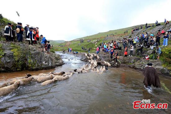 Yi people hold sheepshearing festival
