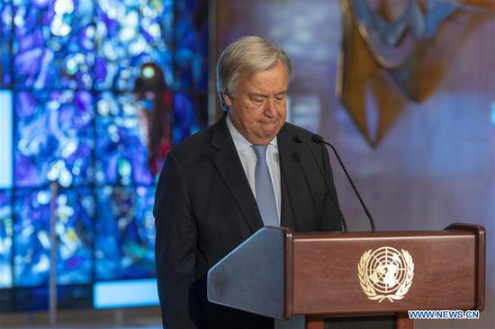 UN chief lays wreath in remembrance of fallen colleagues for humanitarian day