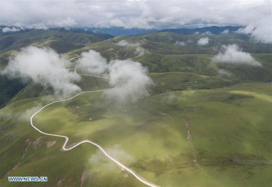 Aerial photos of Shangnan highway in SW China's Sichuan