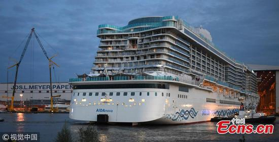 AIDAnova, World's first LNG-powered cruise ship, leaves dock