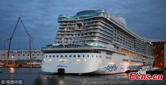 AIDAnova, World's first LNG-powered cruise ship, leaves dock