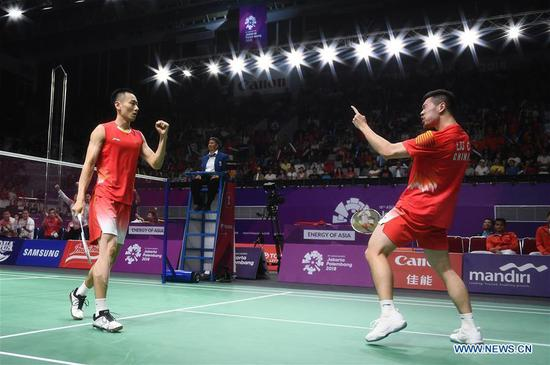 China overcome Indonesia to claim men's badminton crown at Asian Games