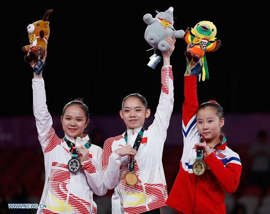 China wins 2 more gymnastics golds at Jakarta Asiad