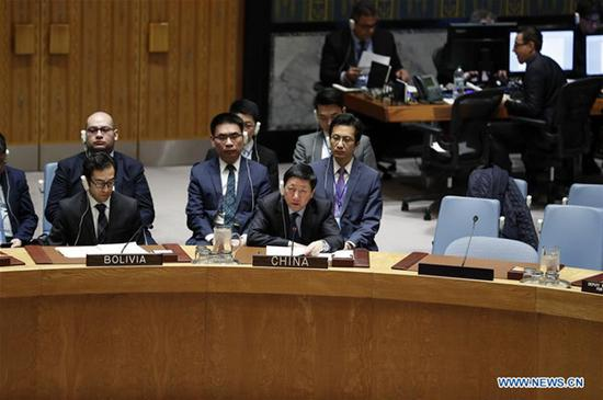 China's Deputy Permanent Representative to the United Nations Wu Haitao (R, Front) addresses a UN Security Council meeting at the UN headquarters in New York.  [File photo: Xinhua]