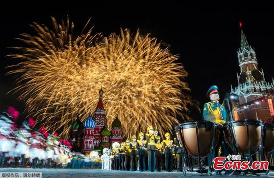 Rehearsal of military music festival in Red Square