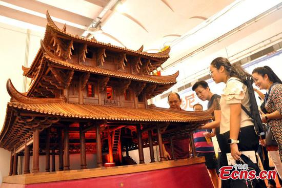 Farmer makes pavilion replica with 3,000 wooden parts