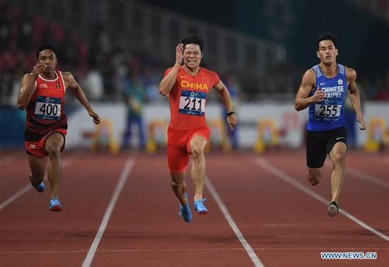 Su Bingtian wins gold in men's 100m at Jakarta Asiad