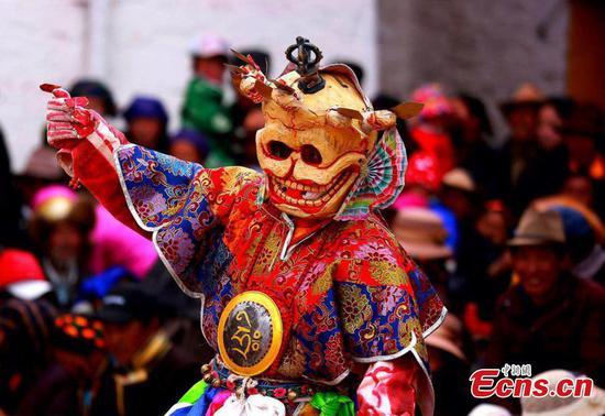 Cham dance in Tibet monastery