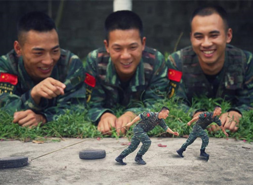 Soldiers take creative photos to commemorate their soon-to-be-finished military life