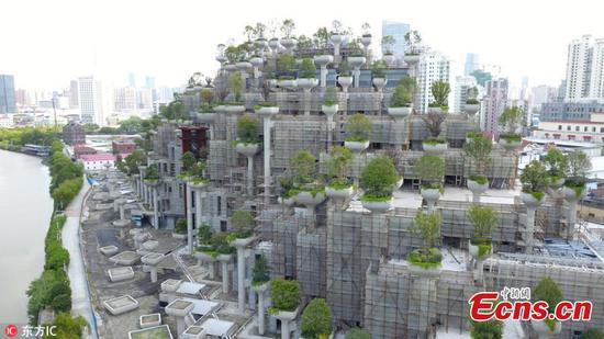 Hanging gardens take shape in Shanghai