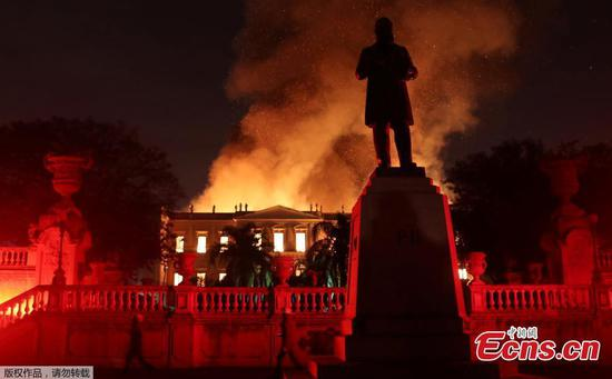 A massive fire raced through Brazil's 200-year-old National Museum in Rio de Janeiro, Brazil on September 2, 2018. (Photo/Agencies)