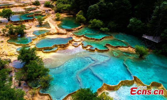 Amazing natural landscape in Huanglong scenic area