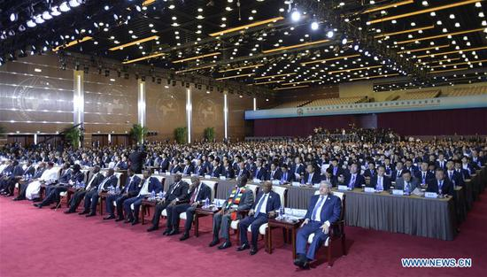 Leaders and delegates attend the opening ceremony of the High-level Dialogue Between Chinese and African Leaders and Business Representatives as well as the Sixth Conference of Chinese and African Entrepreneurs in Beijing, capital of China, Sept. 3, 2018. (Xinhua/Li Xueren)