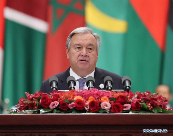 UN Secretary-General Antonio Guterres addresses the opening ceremony of the Beijing Summit of the Forum on China-Africa Cooperation (FOCAC) as special guest of the summit at the Great Hall of the People in Beijing, capital of China, Sept. 3, 2018. (Xinhua/Liu Weibing)