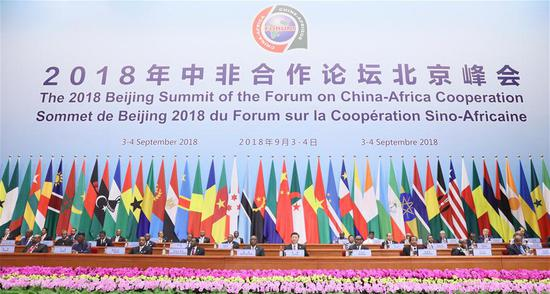 The Beijing Summit of the Forum on China-Africa Cooperation (FOCAC) opens at the Great Hall of the People in Beijing, capital of China, Sept. 3, 2018. Chinese President Xi Jinping delivered a keynote speech titled