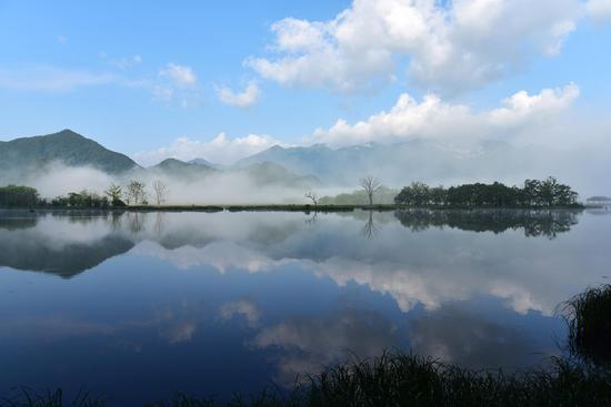 This file photo shows the scenery of the wetland of Dajiu Lake in the Shennongjia Forestry District, Central China's Hubei province.(Photo/Xinhua)