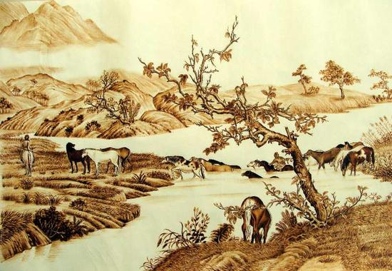 Shanxi artist expresses love for hometown in pyrographic art