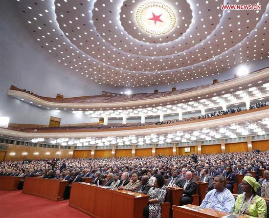 The Beijing Summit of the Forum on China-Africa Cooperation (FOCAC) opens at the Great Hall of the People in Beijing, capital of China, Sept. 3, 2018. (Photo/Xinhua)