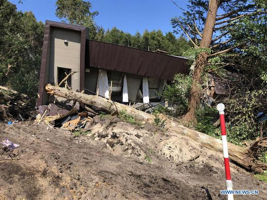 Photo taken on Sept. 6, 2018 shows a damaged house after an earthquake in the town of Atsuma, Hokkaido prefecture, Japan.   (Xinhua/Deng Min)