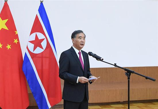 Wang Yang, chairman of the National Committee of the Chinese People's Political Consultative Conference, addresses a reception to celebrate the 70th anniversary of the founding of the Democratic People's Republic of Korea (DPRK), at the DPRK Embassy in Beijing, capital of China, Sept. 6, 2018. (Xinhua/Shen Hong)