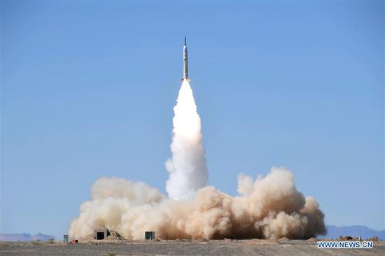 The OS-X1, a suborbital rocket developed and produced by Chinese private company One Space, is successfully launched from the Jiuquan Satellite Launch Center in northwest China, Sept. 7, 2018. The OS-X1 can reach a speed of Mach 4.5 in load flight. This was the company's second launch this year. (Xinhua/Wang Jiangbo)