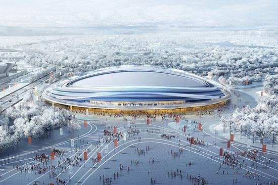 A design picture of the National Speed Skating Oval for long-track speed skating in Beijing. (Provided to China Daily)