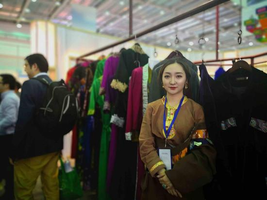 Kangzhu Qingcuo, founder and designer of Boba fashion brand, is the newcomer of China Tibet Tourism and Culture Expo in Lhasa, Tibet Autonomous Region. (Photo by CGTN)