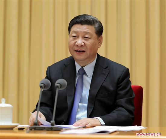 President Xi Jinping, also general secretary of the Communist Party of China (CPC) Central Committee and chairman of the Central Military Commission, speaks at a national education conference in Beijing, on Sept 10, 2018, which marks the 34th Teachers' Day in China. On behalf of the CPC Central Committee, Xi extended congratulations and greetings to teachers and educators nationwide. (Photo/Xinhua)