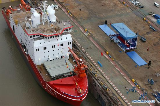China's first domestically-built polar research vessel and icebreaker 'Xuelong 2' launched