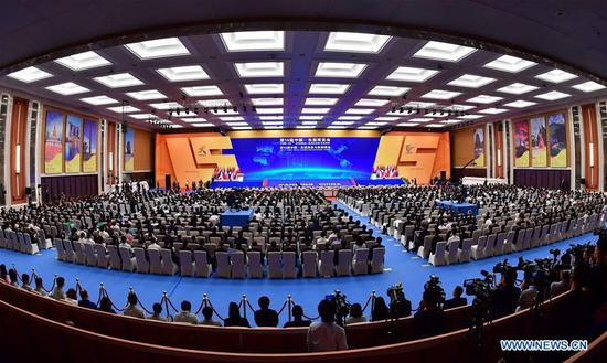 Photo taken on Sept. 12, 2018 shows the opening ceremony of the 15th China-ASEAN (the Association of Southeast Asian Nations) Expo and the China-ASEAN Business and Investment Summit in Nanning, south China's Guangxi Zhuang Autonomous Region. (Xinhua/Huang Xiaobang)