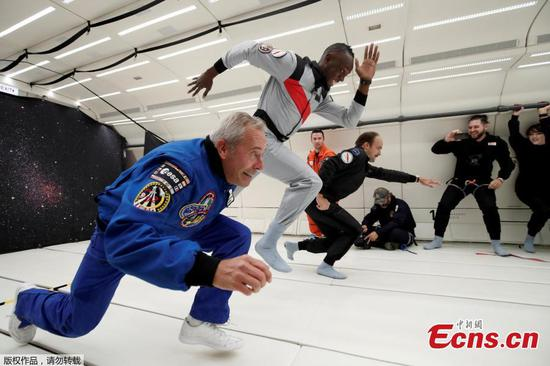 Sprinter Usain Bolt enjoys zero gravity