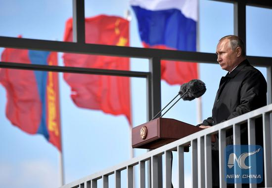 Russian President Vladimir Putin speaks at a military parade of the participants of the Vostok-2018 (East-2018) drills at Tsugol military training ground in Zabaikalsky region, Russia, on September 13, 2018. (KREMLIN PHOTO)
