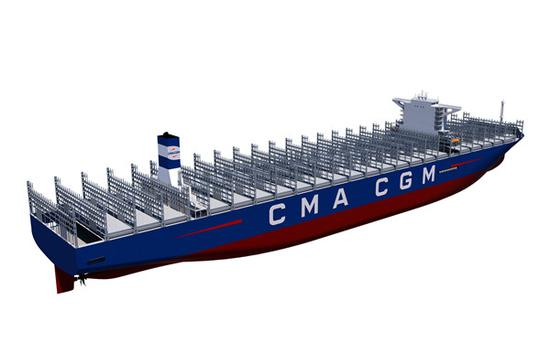Design sketches of the world's largest container ship. (PROVIDED TO CHINA DAILY)