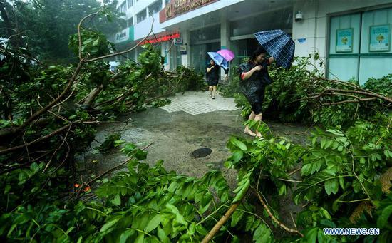 Pedestrains walk past broken branches at Nanshan District in Shenzhen, south China's Guangdong Province, Sept. 16, 2018. According to China's National Meteorological Center, Mangkhut is expected to land in Guangdong between Sunday afternoon and evening. (Xinhua/Mao Siqian)