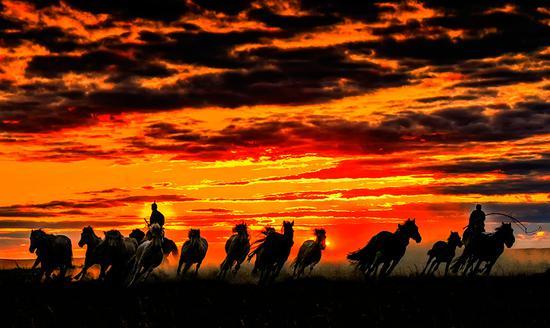 Autumn sunsets over open grasslands