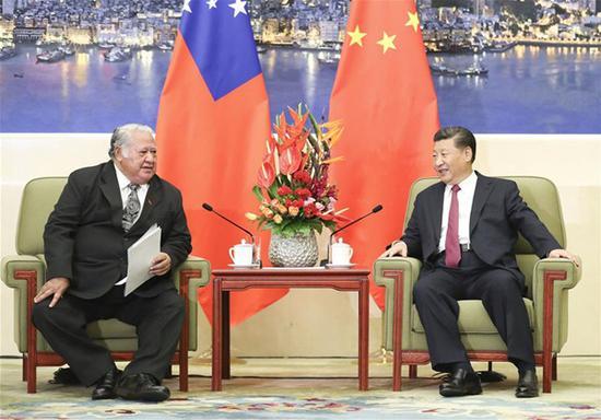 Chinese president pledges support for Samoa's economic development