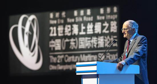Thomas Sargent, the 2011 Nobel Prize winner in economics, delivered a speech at the 21st Century Maritime Silk Road Forum. (CGTN Photo)
