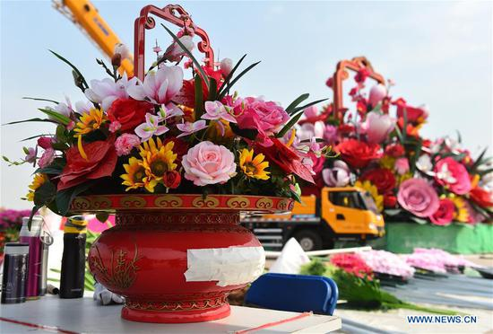 Artificial flower basket placed at Tiananmen Square for upcoming National Day