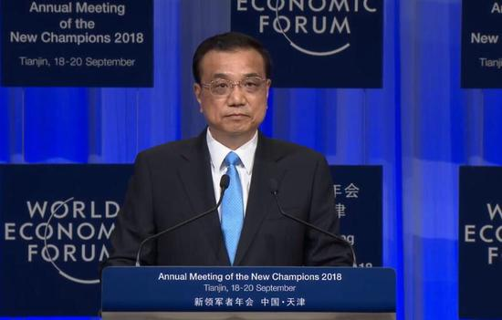 Chinese Premier Li Keqiang delivers a speech at the Summer Davos in North China's Tianjin municipality. (Photo/CGTN)