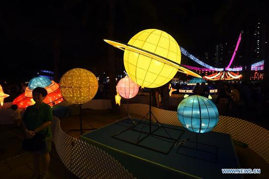Fancy lanterns displayed to greet Mid-Autumn Festival in Hong Kong