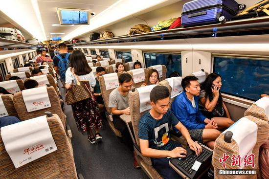Onboard the first bullet train from mainland to Hong Kong