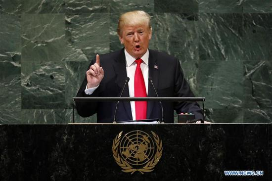 U.S. President Donald Trump addresses the General Debate of the 73rd session of the UN General Assembly at the UN Headquarters in New York, Sept. 25, 2018. (Xinhua/Li Muzi)