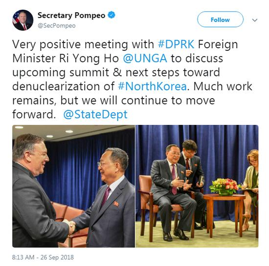 U.S. Secretary of State Mike Pompeo (L) meets DPRK Foreign Minister Ri Yong Ho on the sideline of the United Nations General Assembly in New York, Sept. 27, 2018. /Twitter Screenshot)